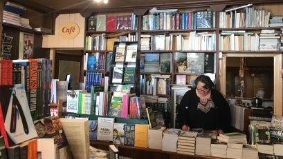 Marie in the cafe/book store.